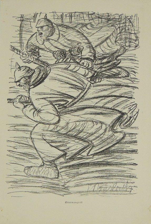 Ernst Heinrich Barlach, Sturmangriff, original lithogra
