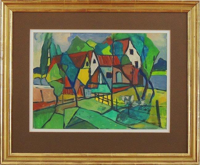 Karl Schmidt-Rottluff, village landscape, Gouage on pap