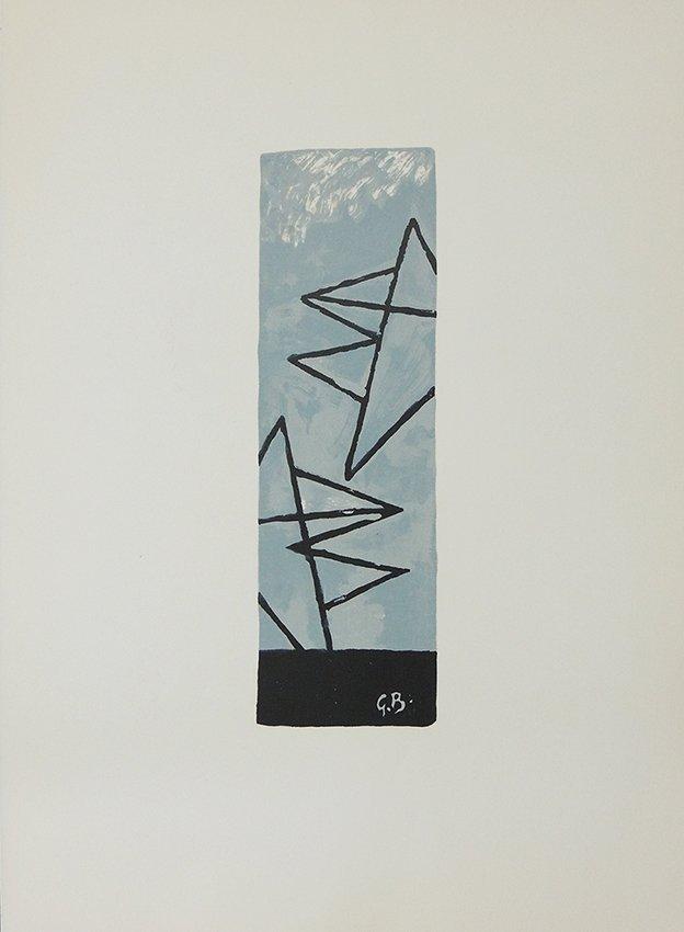 George Braque, cielgris 1, original lithography in colo