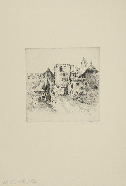 Ernst Huber, Dürnstein, City gate, Austria 1920