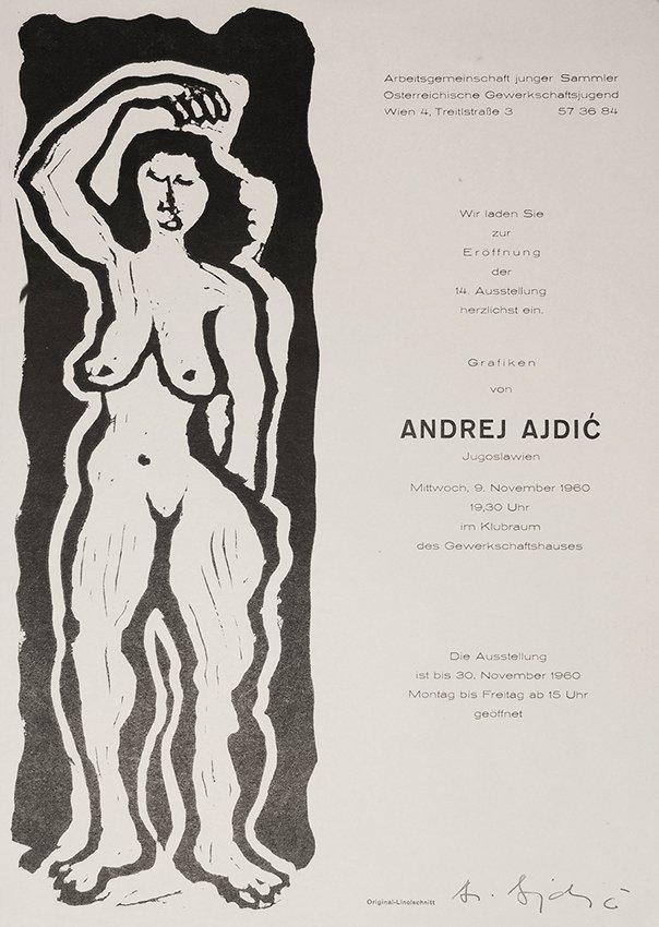 Andrej Ajdic, original linocut, signed