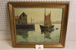 Oil on Canvas of Boat in Harbor by Artist  J.J.