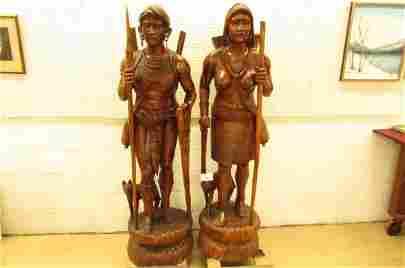 Igorot / Ifugao  pair of Figural Hunter and Huntress