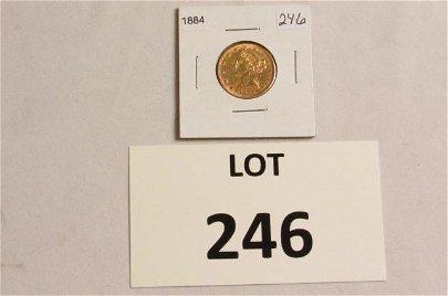 1884 $5 Liberty Head Gold Coin (.242oz)