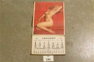 Vintage 1955 Calendar featuring a nude Marilyn Monroe
