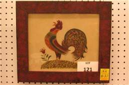 Theorem painted of a crowing rooster, watercolor on