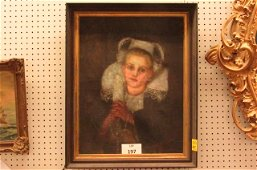 Oil on canvas of a young Austrian girl by Margaret