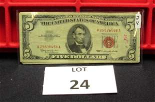 5-$5 US Notes-Red Seal-1963