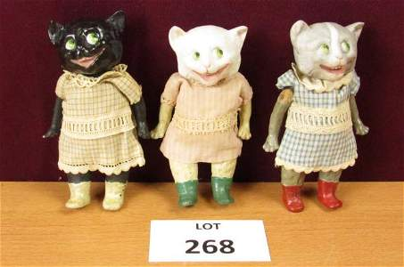 Complete set of three antique Gebruder Heubach cat