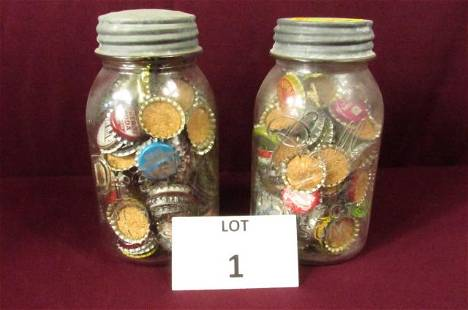 Mason Jars with vintage bottle caps