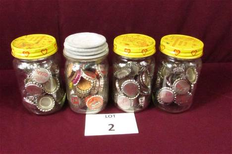 Lot of 4 Mason with Coca-Cola and vintage bottle caps