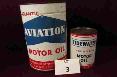 Large Atlantic Aviation motor oil can and a Tidewater