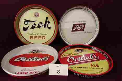 Lot of 4 beer trays