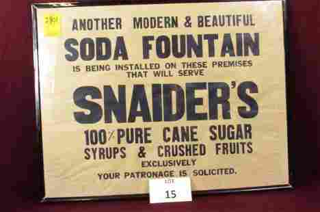 Snyder's Syrups and Crushed fruits soda fountain paper
