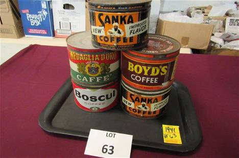 Lot of 5. 16 ounce coffee tins