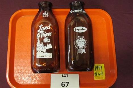 Amber Texas milk bottles