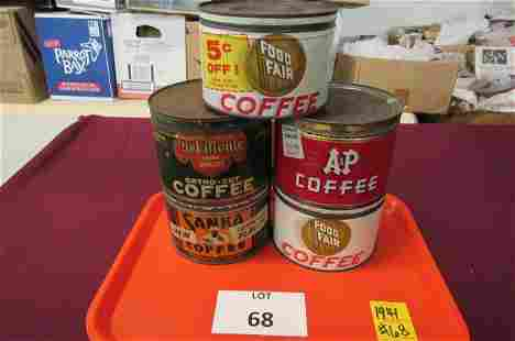 Lot of 5. 12 ounce coffee tins