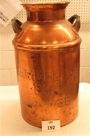 Very rare copper milk can