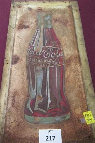 Vintage Coca-Cola bottle tin sign