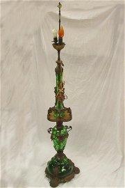 Loetz green glass bronze floor lamp