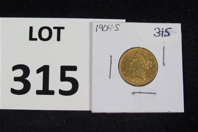 1904S $5 Liberty Head Gold Coin (.24187oz-.900)