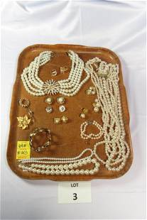 Lot of Elegant Pearl and Gold Tone Costume Jewelry