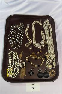 Striking Lot of Black and White Toned Costume Jewelry