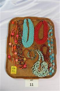 Lot of Turquoise and Coral Toned Costume Necklaces and