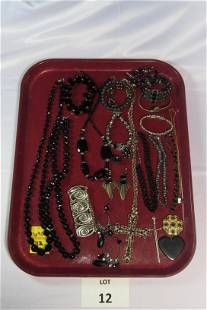 Collection of Black and Silver Toned Costume Jewelry