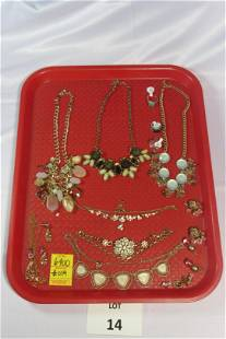 Variety of Costume Jewelry in Shades of Green and Pink