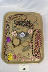 Lot of Purple and Pink Costume Jewelry