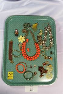 Unique Mix of Gold Tone Costume Jewelry With Orange and