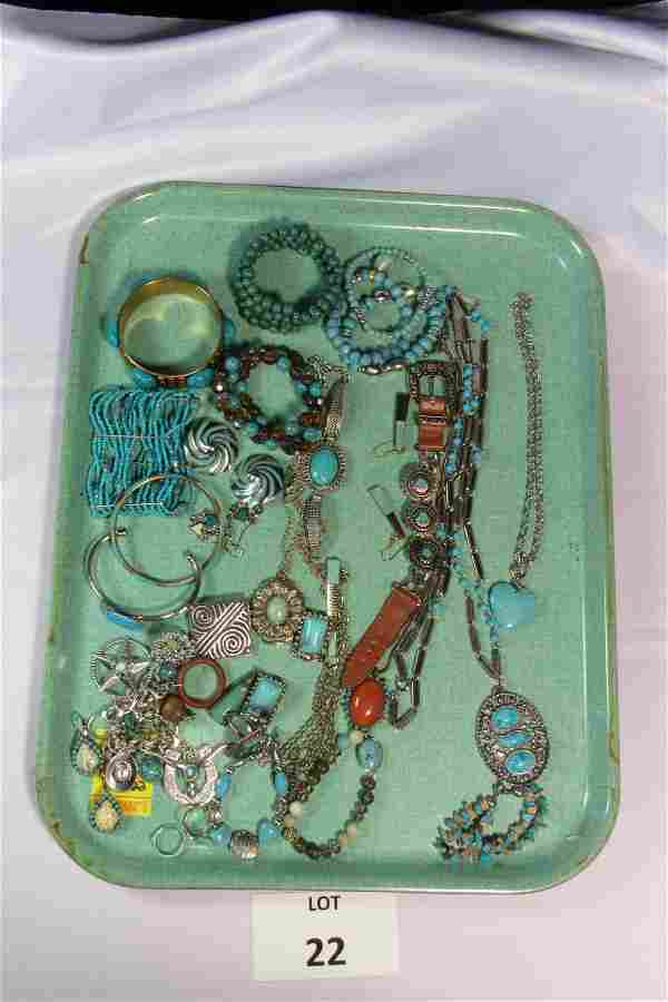 Lot of Turquoise and SIlver Toned Costume Jewelry