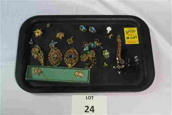Lot of Blue and Green Stone Costume Jewelry