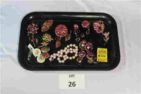 Lot of Pink Stone Costume Jewelry