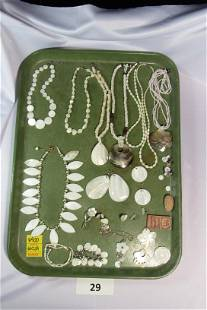 Lot of Costume Jewelry With Mother Of Pearl