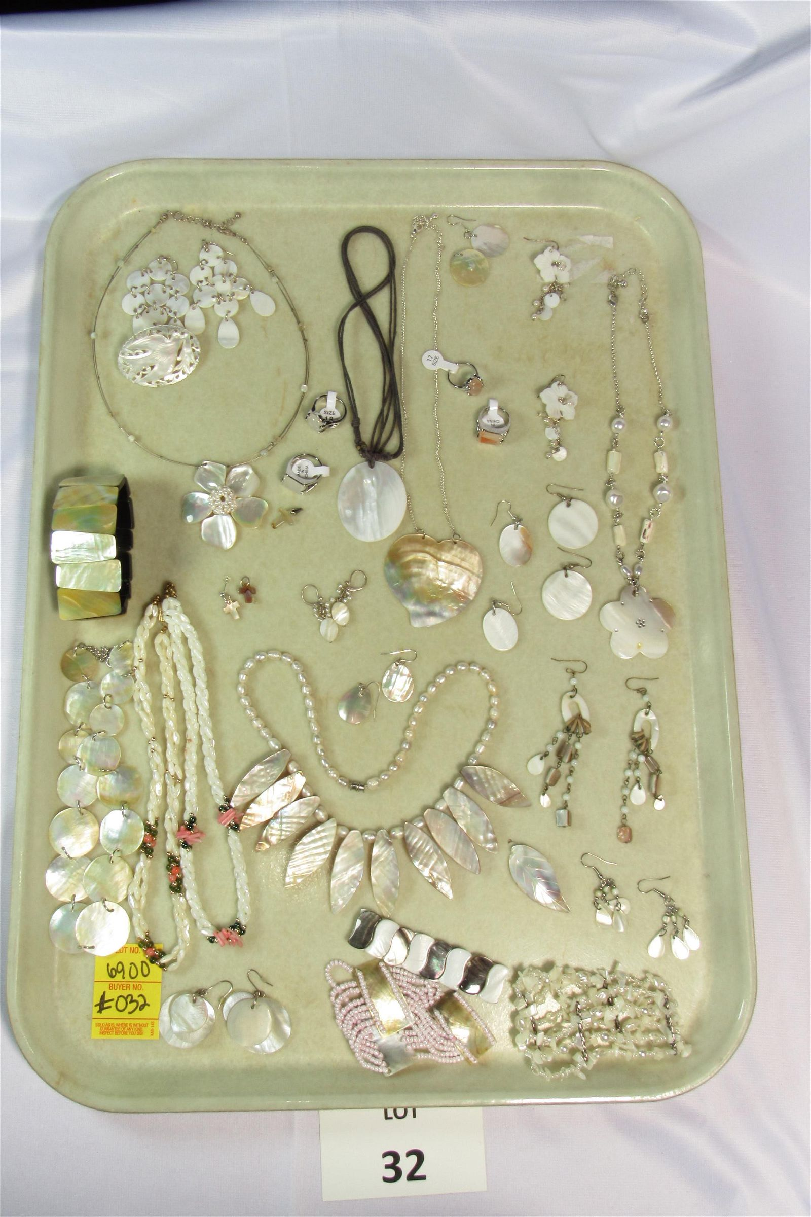 Lot of Mother of Pearl and Opalescent Costume Jewelry