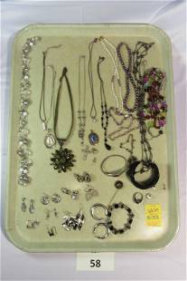 Lot of Silver Tone Costume Jewelry with Dark Accents