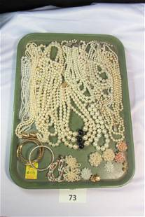 Lot of Faux Pearl Costume Jewelry