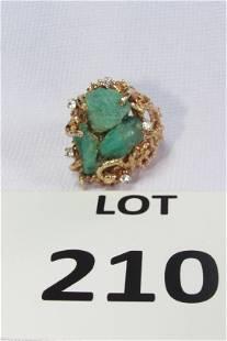 14K Gold Ring w/ Jasper and Zircon