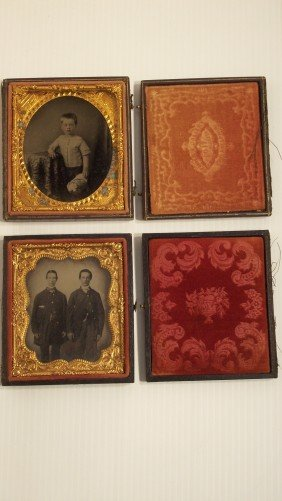 21: LOT OF 2 TINTYPES IN FRAME AND CASE