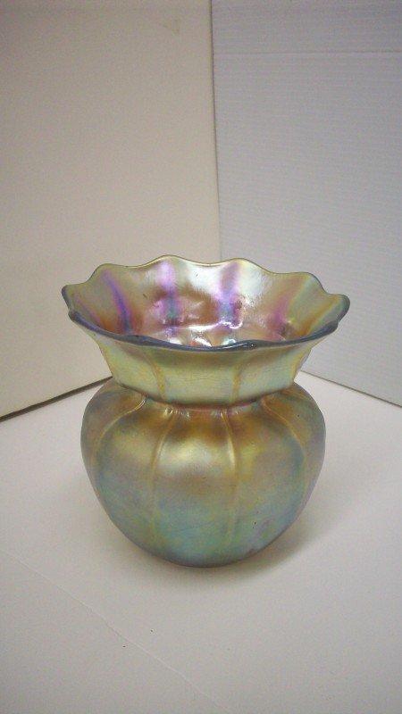 140: Steuben Aurene Sack Vase