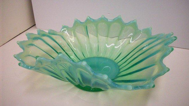 9: Aqua Opalescent Art Glass Bowl