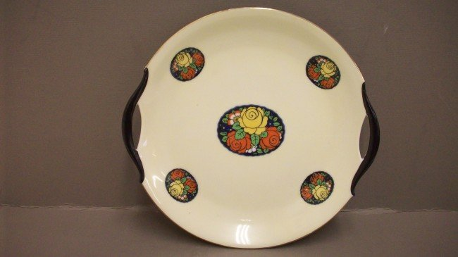 229: Hand painted Erphila Germany Open Handled Plate