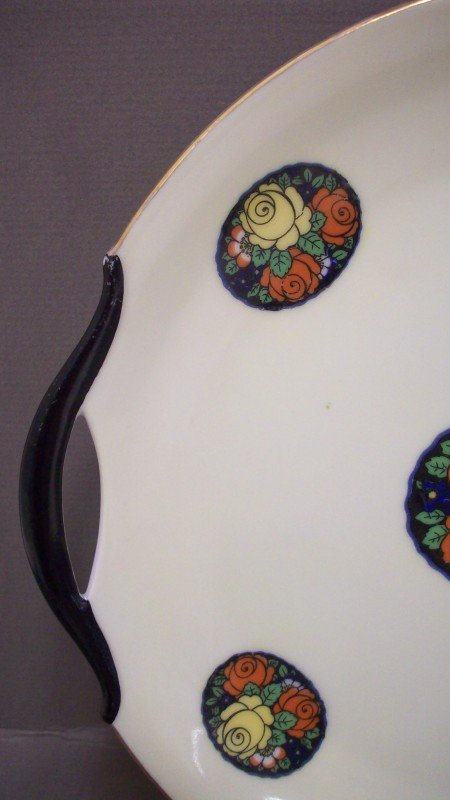 229: Hand painted Erphila Germany Open Handled Plate - 2
