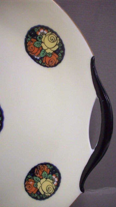229: Hand painted Erphila Germany Open Handled Plate - 4