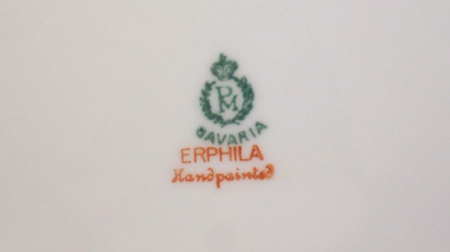 229: Hand painted Erphila Germany Open Handled Plate - 8