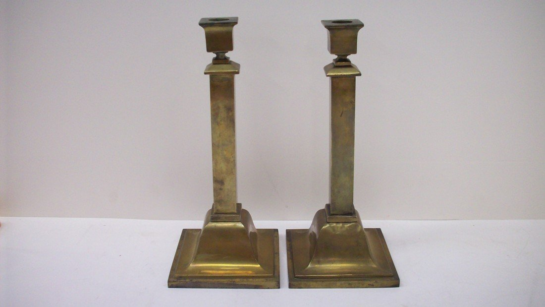 5: Pair of Bradley & Hubbard Brass Candlesticks