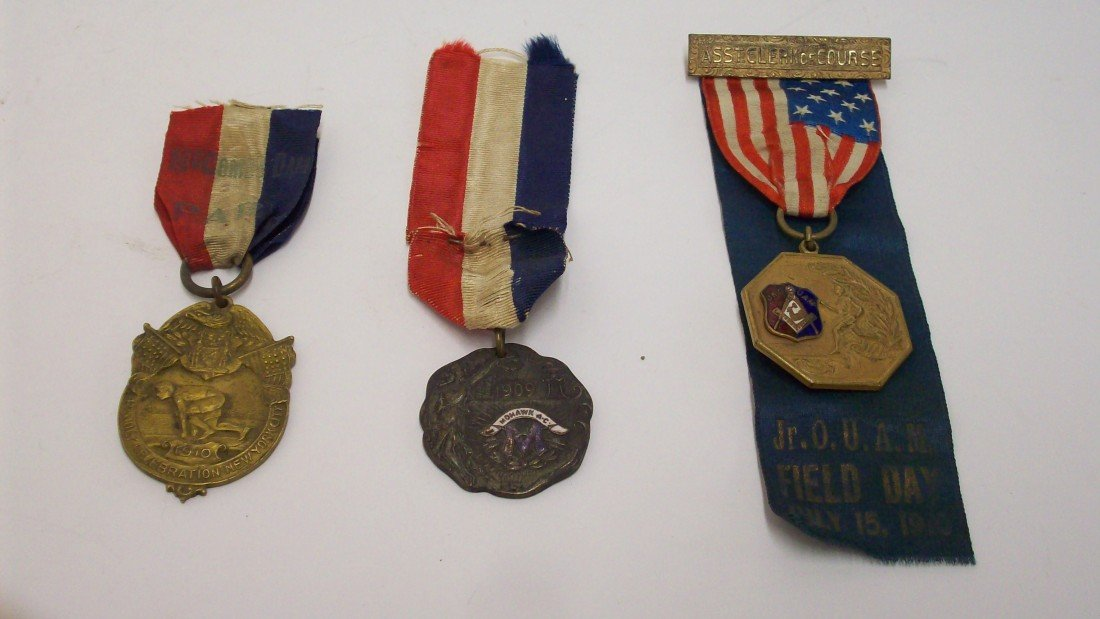 12: Lot 1  Three  Sports Medals Ribbons