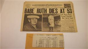 153: Babe Ruth Autograph and Newspaper 8-17-48 Death